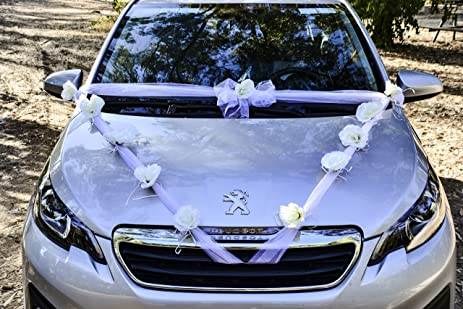 Amazon.com: Happy Days Wedding Car Decoration Kit: Wide White ...