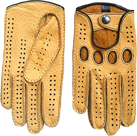 Men/'s Driving Gloves Peccary Leather Hand Sewn Cognac Color By Hungant