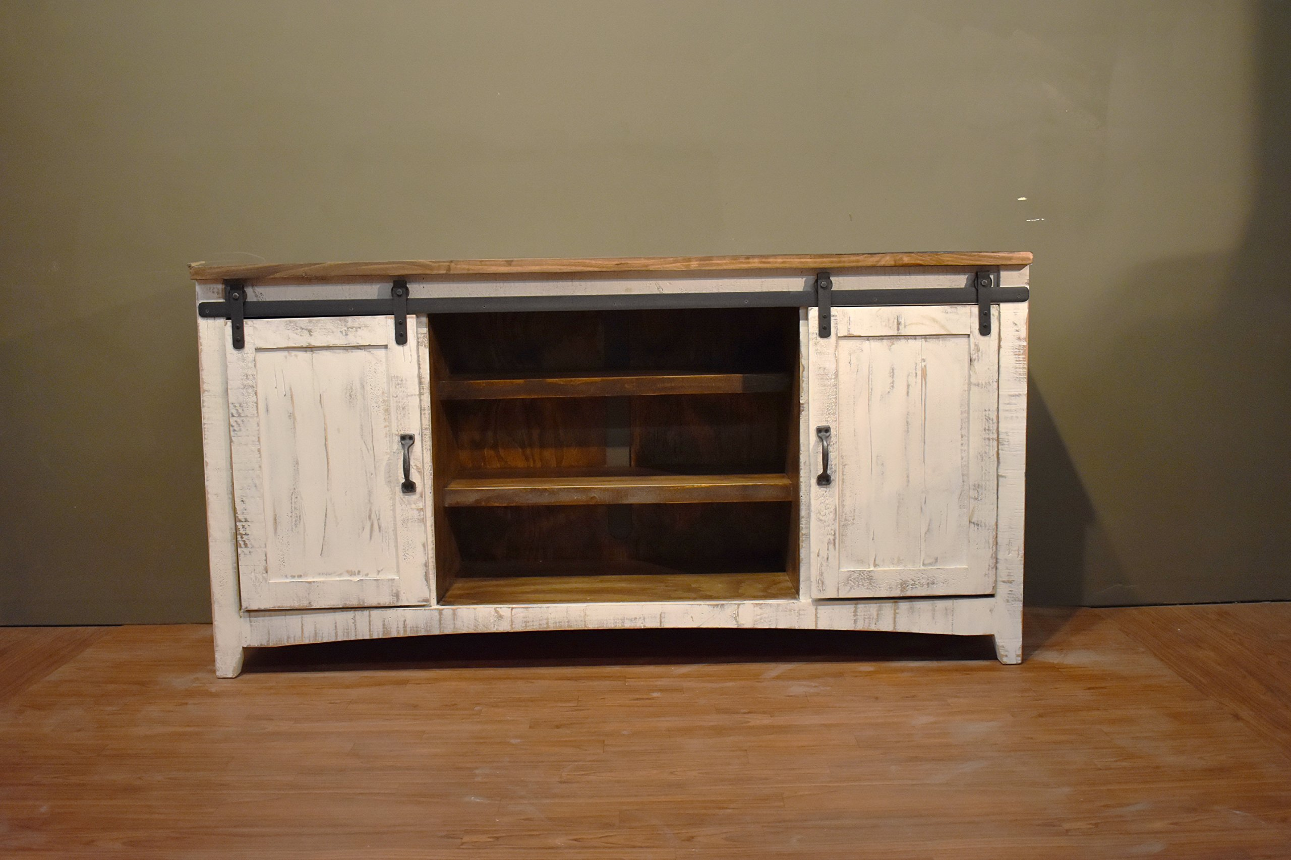 Crafters and Weavers Granville White 67'' TV Stand / Sideboard / Console Table with Sliding Barn Doors by Crafters and Weavers (Image #3)