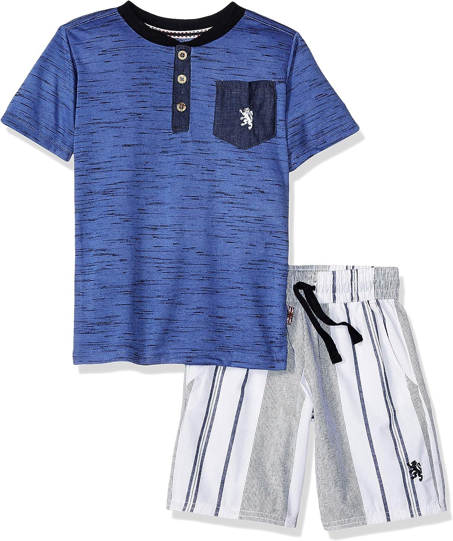 English Laundry Boys Sleeve Striped Henley T-Shirt and Short Set