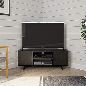 """Ameriwood Home Southlander Corner 50"""", Black Oak TV Stand"""