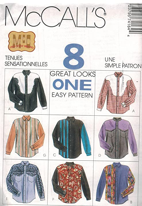 Amazon.com: 7416 McCalls Sewing Pattern UNCUT Mens Easy Fitting ...