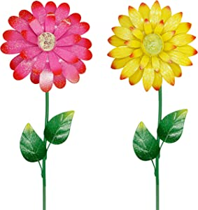 Juegoal 25 Inch Flower Garden Stakes Decor, Shaking Head Metal Outdoor Sunflowers Daisy Glow in Dark Metal Yard Art, Indoor Outdoor Lawn Pathway Patio Ornaments,Set of 2
