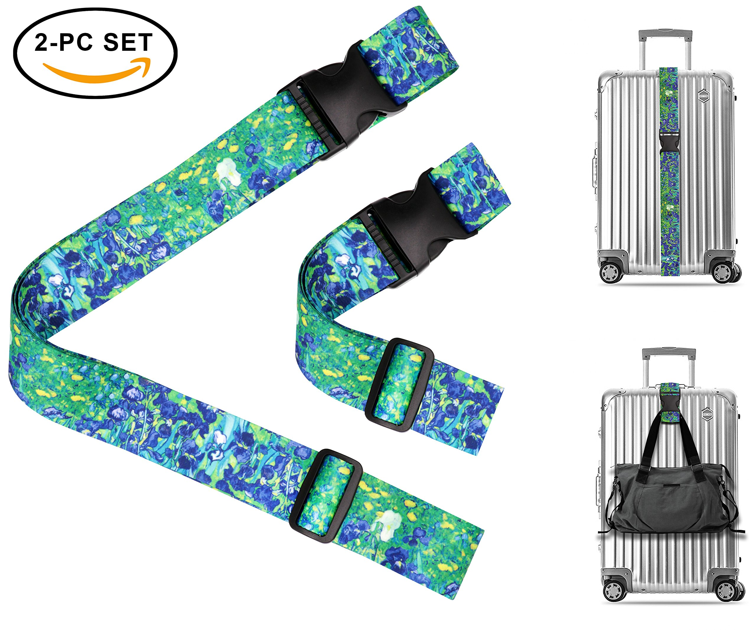 Vincent Van Gogh Irises Travel Luggage Strap Suitcase Security Belt. Heavy Duty & Adjustable. Must Have Travel Accessories. TSA Compliant. 1 Luggage Strap & 1 Add A Bag Strap. 2-Piece Set.