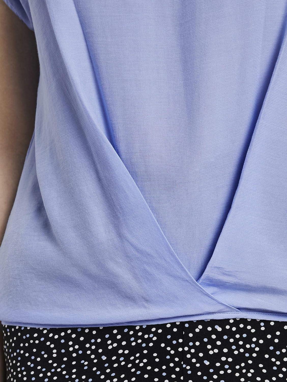 TOM TAILOR dam vikbar halsduk blus Parisienne Blue