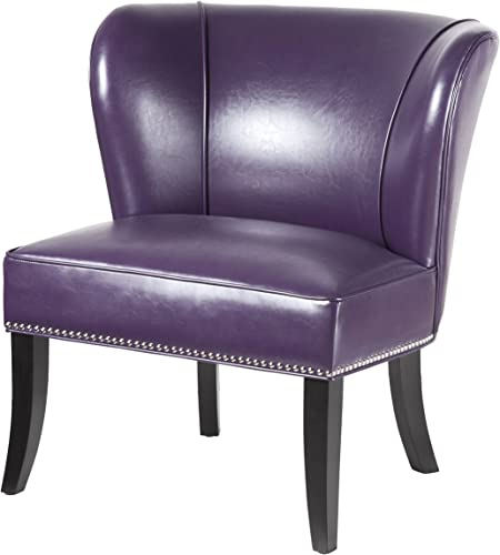 Contemporary Purple Faux Leather Upholstered Armless Accent Chair
