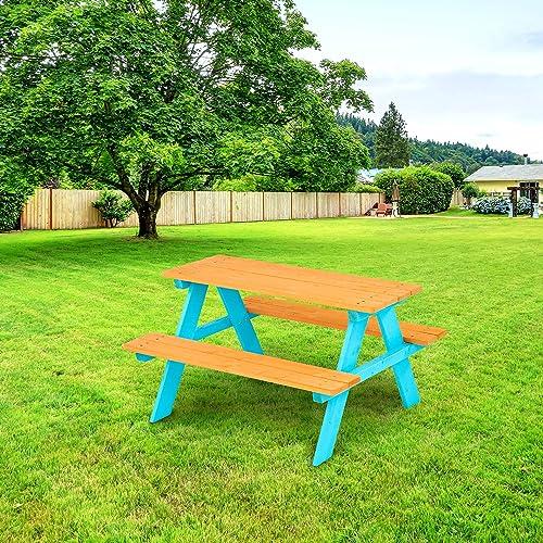 Teamson Kids – Wooden Outdoor Child Children Kids Picnic Table Chair Bench Set – Wood Petrol