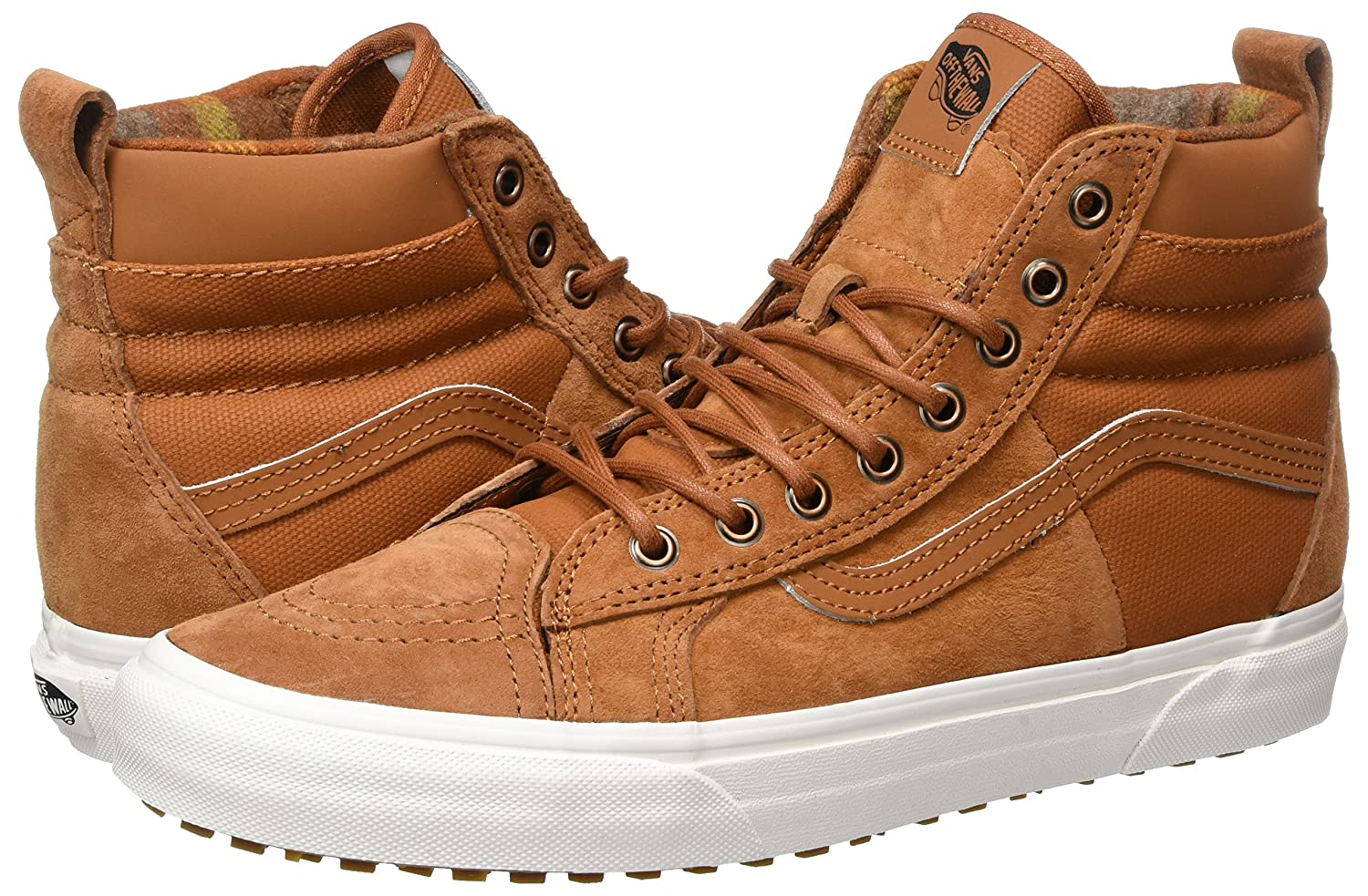 Vans Sk8-Hi Unisex Casual High-Top Skate Shoes, Comfortable and Rubber Durable in Signature Waffle Rubber and Sole B01MYZ1W6O 8.5 Women / 7 Men M US|Glazed Ginger/Flannel cb7023