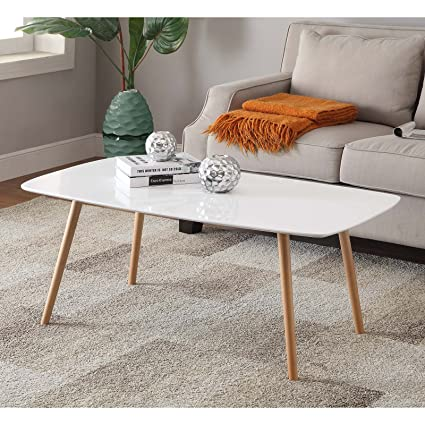 Amazon.com: White Finished Coffee Table, Piano Table Top ...