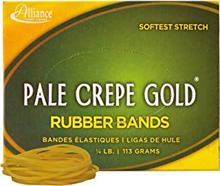 """product image for Alliance Rubber 20149 Pale Crepe Gold Rubber Bands Size #14, 1/4 lb Box Contains Approx. 845 Bands (2"""" x 1/16"""", Golden Crepe)"""