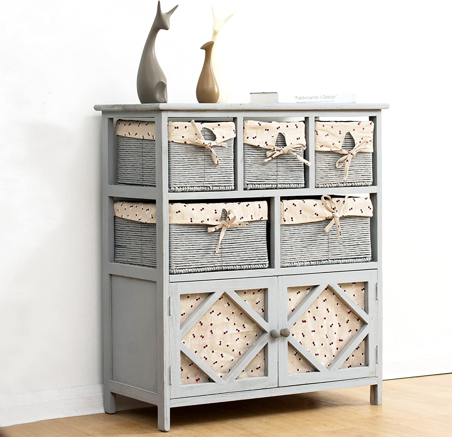Cherry Tree Furniture Shabby Chic Grey Paulownia Solid Wood Sideboard Drawer Chest with Wicker Baskets