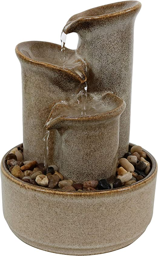 Amazon Com Sunnydaze 10 Inch Tiered Carafe Smooth Glazed Ceramic Indoor Tabletop Water Fountain Soothing And Relaxing Water Sound Mini Decorative Water Fountain For Home Or Office Sunnydaze Decor Home Kitchen