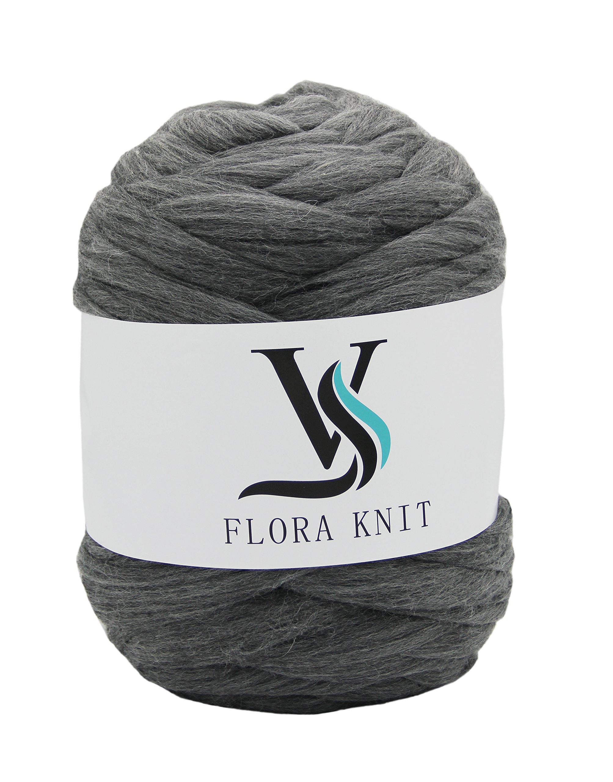 100% Wool Super Chunky Yarn - Non-Mulesed Merino Wool Roving Top,Extreme Big for Arm Knitting Knit Blankets Throws (4.4 LBS -88in, Gray) by FLORAVOGUE (Image #1)