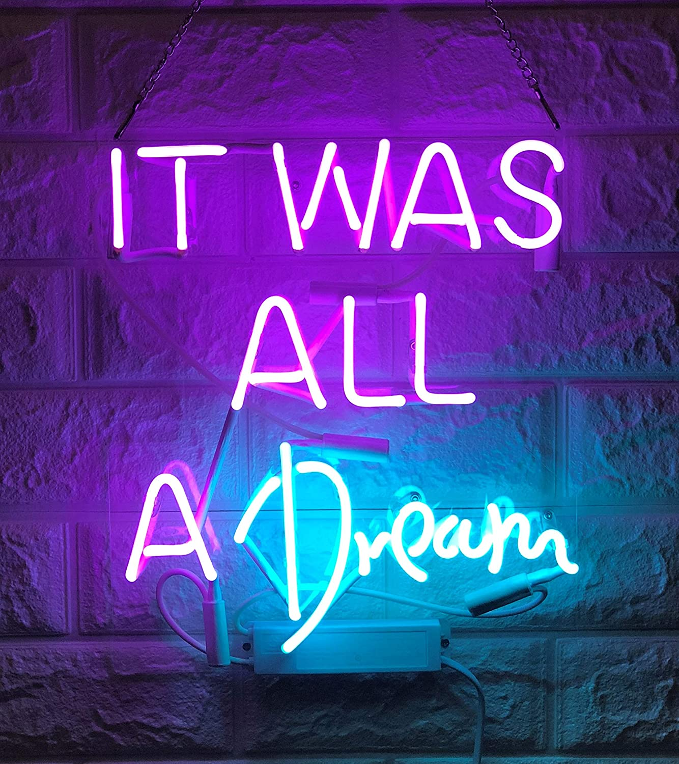 """Desung Brand New 14"""" It was All A Dream Gift Lamp Decorated Acrylic Panel Handmade Custom Design Neon Sign Light WD23"""
