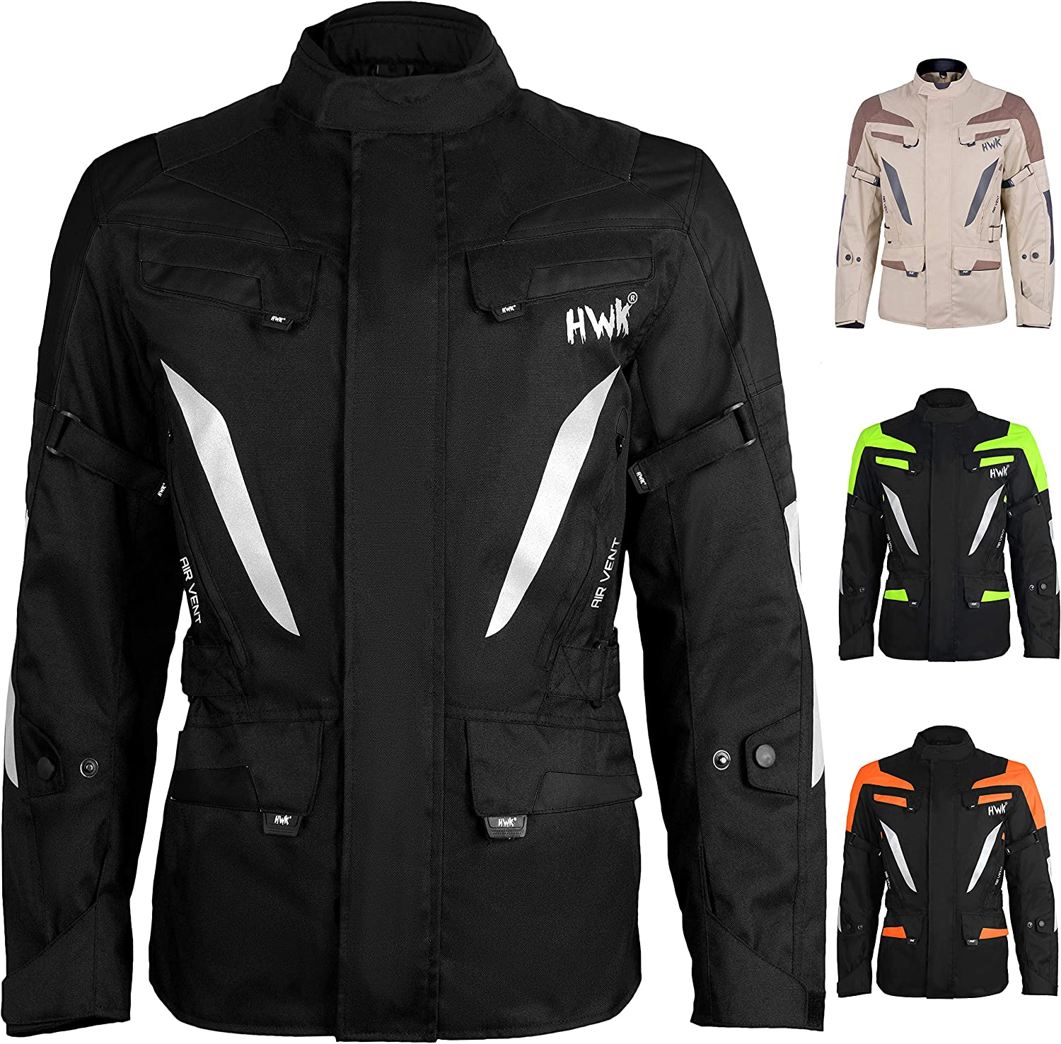 Jet-Black, M Adventure//Touring Mens Motorcycle Jacket Adv Dual Sport Racing CE Armored Waterproof Windproof Jackets All-Weather