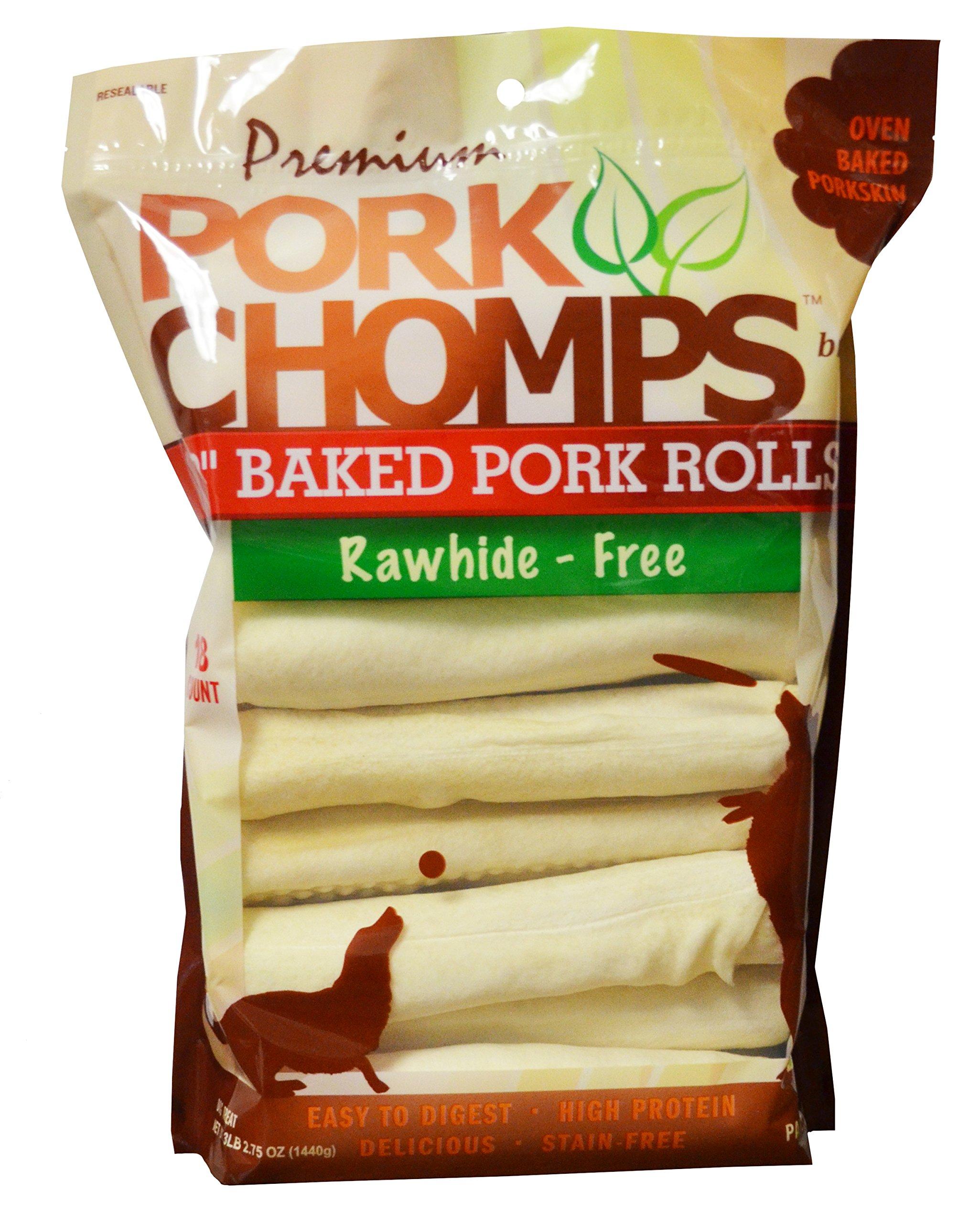 Scott Pet 18 Count Pork Chomps Premium Baked 8'' Rolls (1 Pouch)