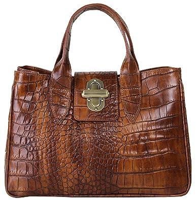 Handtasche ECHT LEDER cognac Damen Mittel - 016744 Samantha Look 4Y2QJUMy