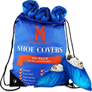 Shoe Covers Disposable Non Slip - 100 Pack Foot Booties for Indoors - Heavy Duty Protective Booties for Shoes Covers Disposable with Double Rubber Band - Dust Proof, Waterproof, Durable CPE Plastic