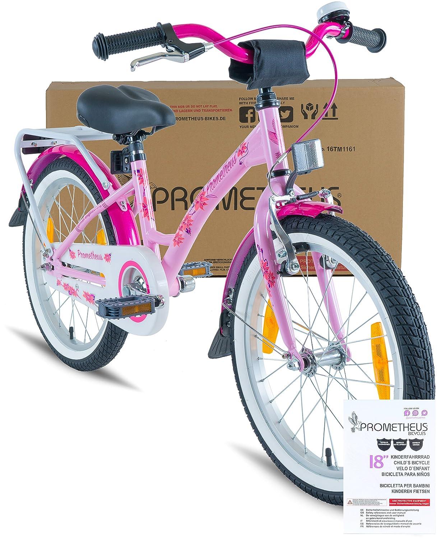 Prometheus Bicicleta Infantil para niña 18 Pulgadas | Rosa Lila | A Partir de 6 años | V-Brake y Freno de contrapedal | 18