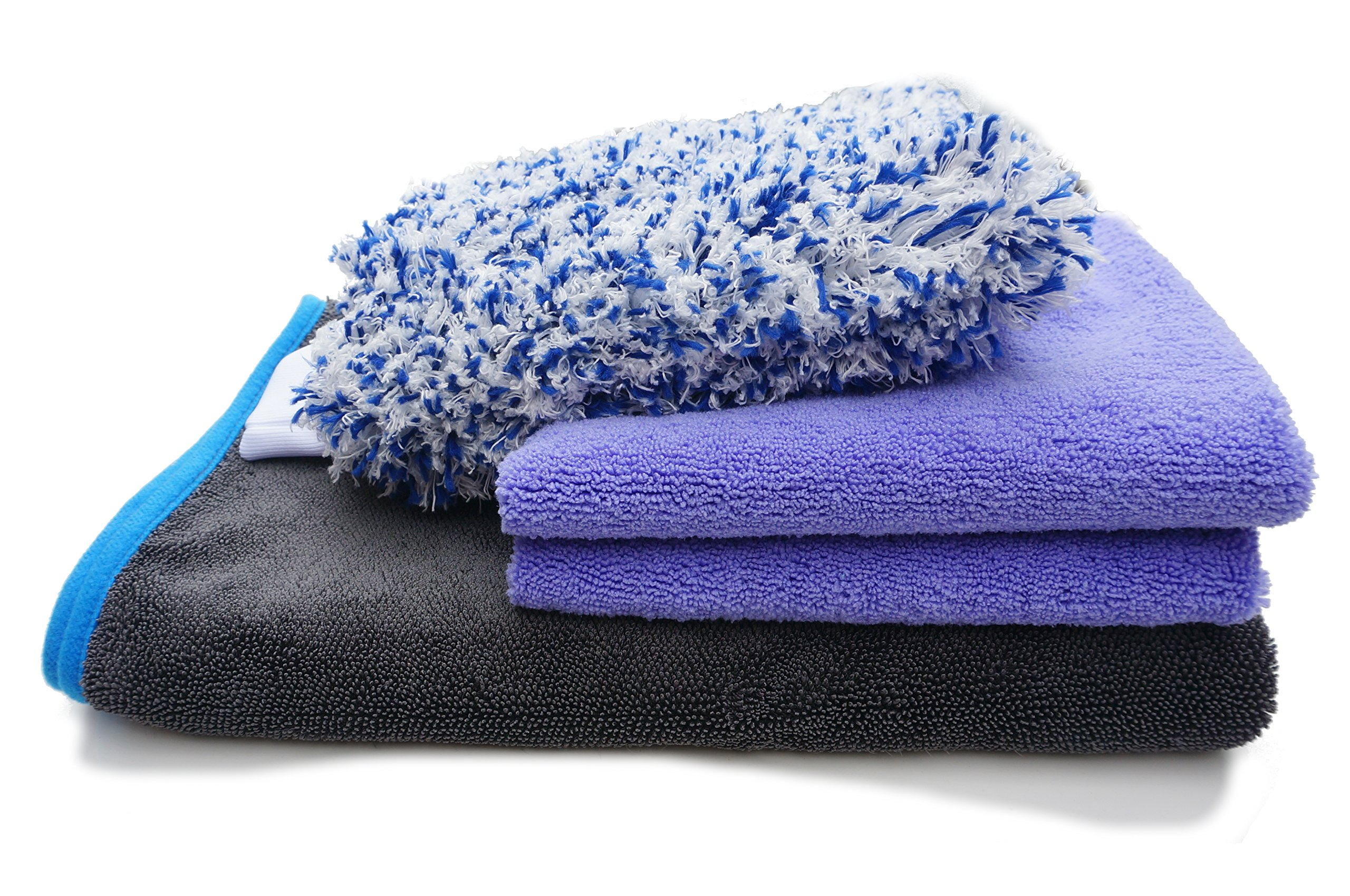 MyClover Premium Super Plush 550gsm Microfiber Auto Detailing Towels 4-in-1 SET (Large Drying Towel, 2 Double Sided Plush Towel, Scratch-Free Wash Mitt) Professional Korean Car Cleaning Buffing Towel