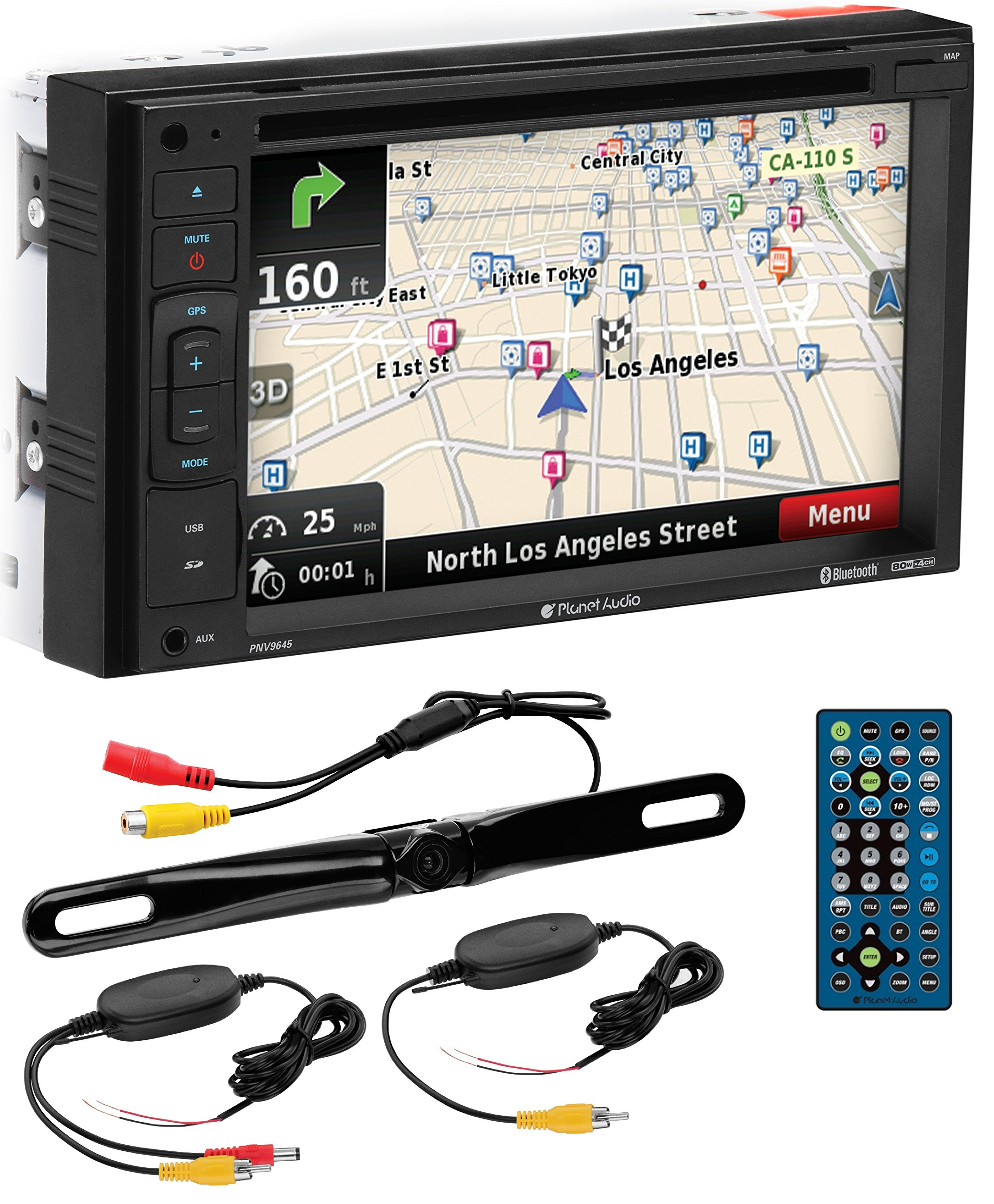 PLANET AUDIO PNV9645WRC Navigation, Bluetooth, Double Din, 6.2'' Touch Screen, DVD/CD/MP3 AM/FM Receiver Wireless Remote, Wireless License Plate Backup Camera Included