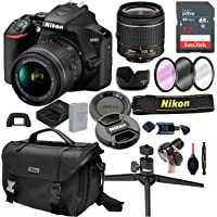 Nikon D3500 DSLR Camera with 18-55mm VR Lens + 32GB Card, Tripod,Case and More (20pc Bundle)