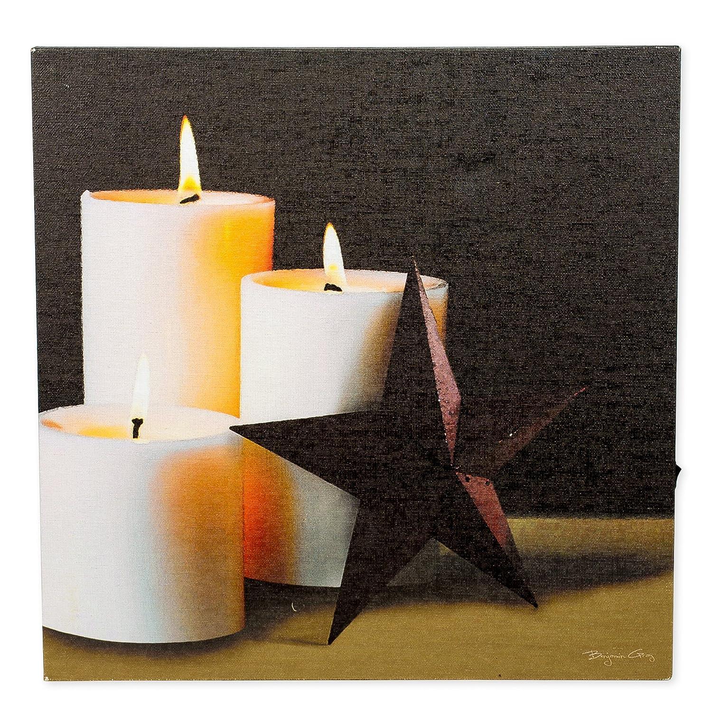 Pillar CandleバーンスターLEDライトアップ12 x 12インチキャンバス壁プラークデコレーション B01BKUY1GW 14138