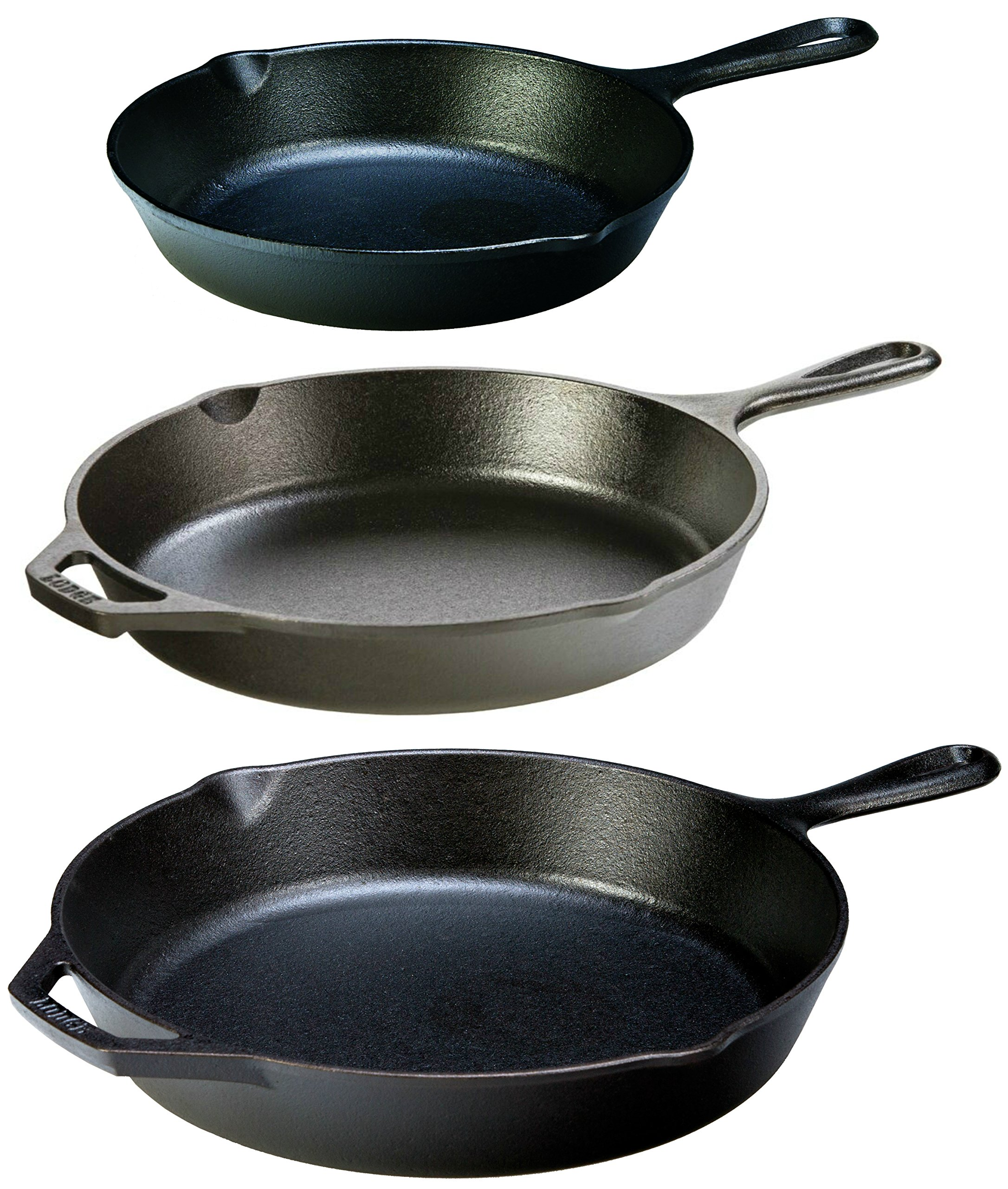 Lodge Seasoned Cast Iron 3 Skillet Bundle. 12 inches and 10.25 inches with 8 inch Set of 3 Cast Iron Frying Pans by Lodge