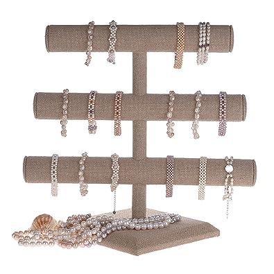Amazoncom Beige Linen Triple Tier Jewelry Bracelet Organizer