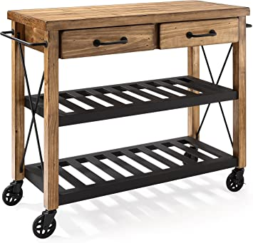 Crosley Furniture Roots Rack Industrial Rolling Kitchen Cart, Natural