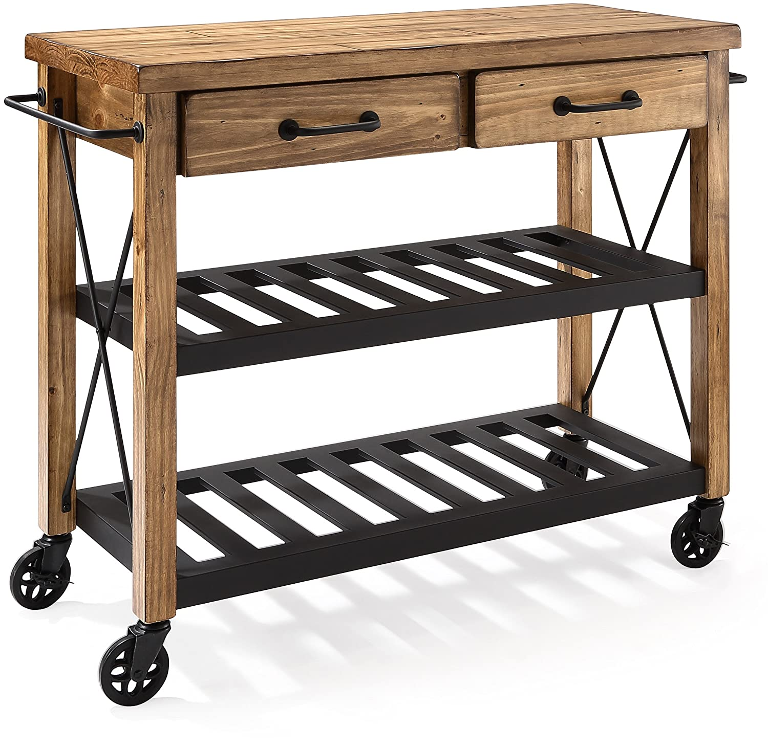 Crosley Furniture Roots Rack Industrial Rolling Kitchen Cart - Natural