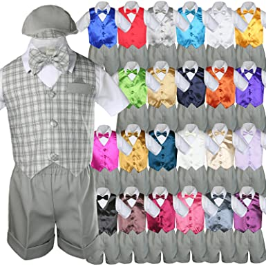 789a3c133 Unotux 7pc Baby Boys Grey Formal Shorts Check Suits Extra Vest Bow Tie Sets  S-
