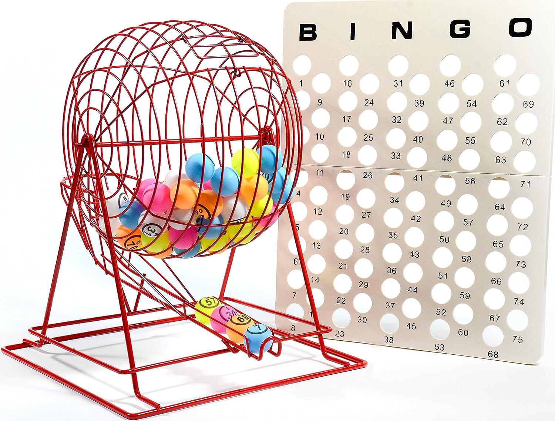 Regal juegos Jumbo Profesional Rojo Bingo jaula con multicolor ping pong bolas de Bingo