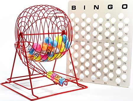 Regal Games Jumbo Professional Red Bingo Cage with Multicolor Ping Pong Bingo Balls