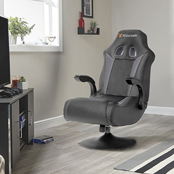 X Rocker 2.1 Wireless Bluetooth Audi Foldable Video Gaming Chair with Pedestal Base and 2 Speaker High Tech Audio