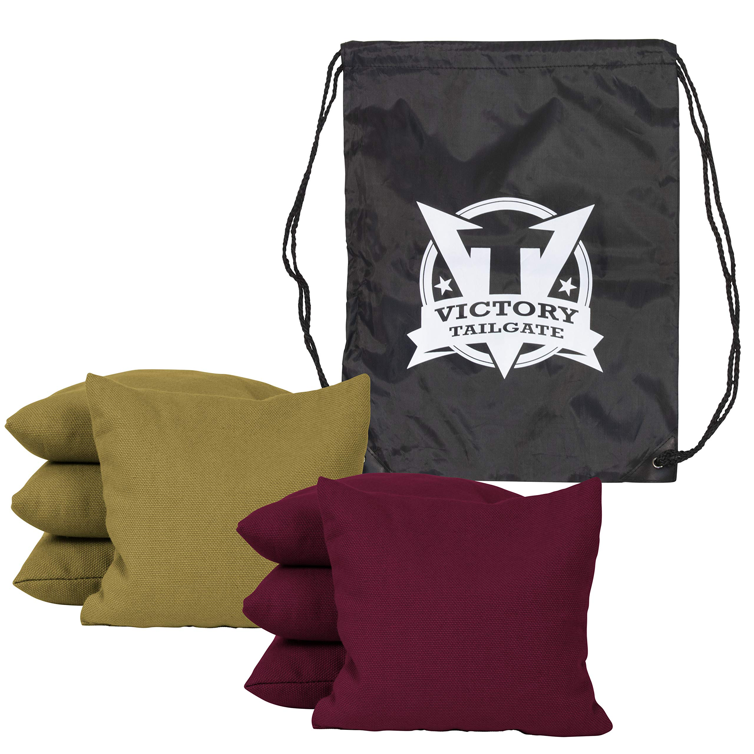 Victory Tailgate 8 Colored Corn Filled Regulation Cornhole Bags with Drawstring Pack (4 Burgundy, 4 Gold)