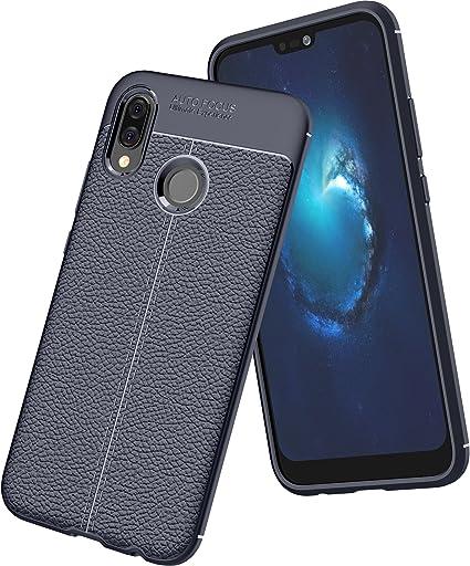 Bleu Premium Resistant Silicone Shockproof Flexible avec Cuir Texture Motif TPU Housse Etui pour Huawei Mate10 Lite kinguard Coque Huawei Mate 10 Lite
