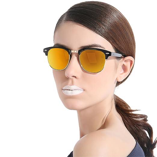 d6266c8849 CHB Men s Women s Classic Clubmaster Half Frame Semi-Rimless Rimmed  Polarized Sunglasses UV400 with Case