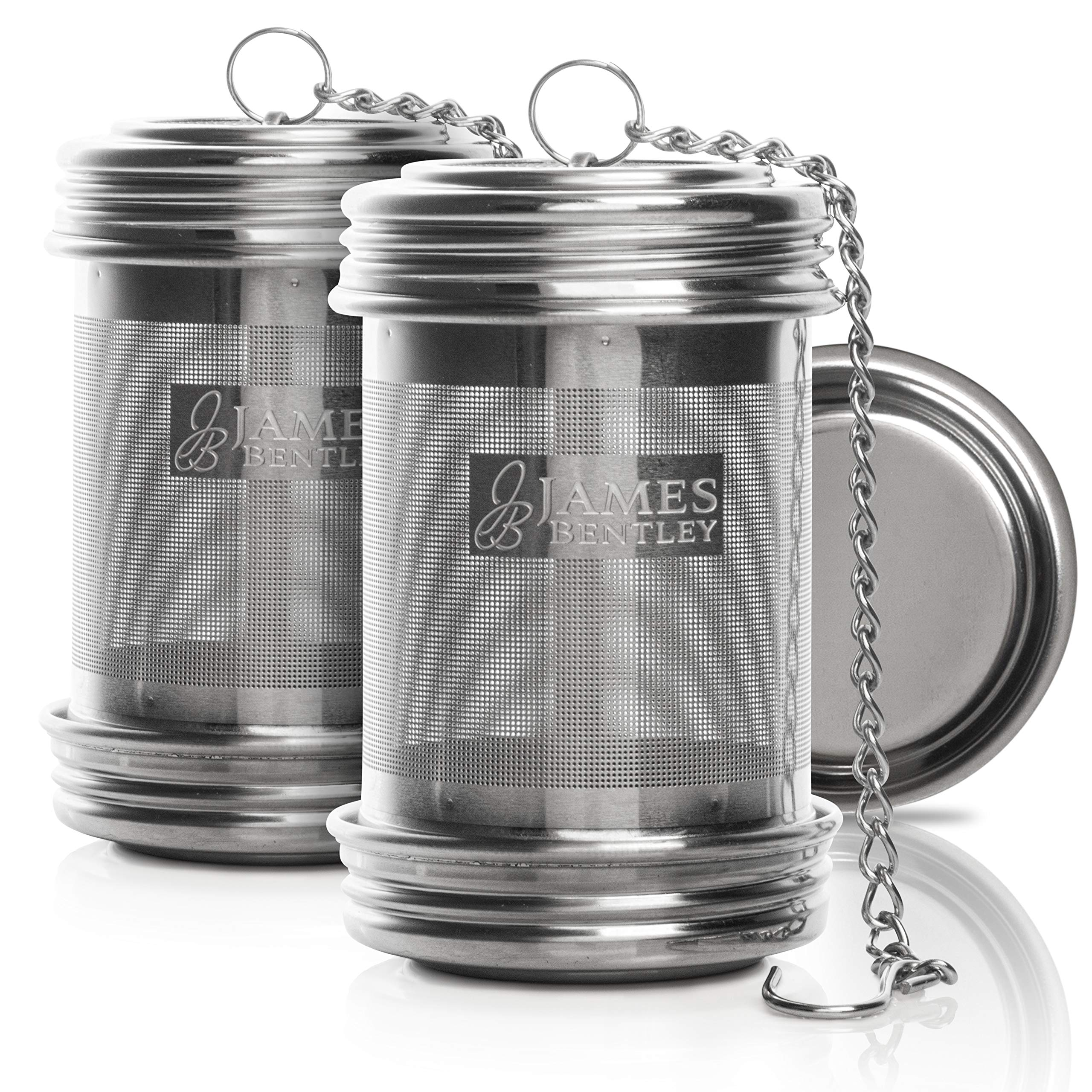 Tea ball Infuser for loose Tea 2 PACK Stainless Steel filters trainer with Double Screw Threaded Connection for Easy Cleaning Extra Fine Mesh Tea ball Infuser Brew Tea, Spices & Seasonings by JAMES BENTLEY