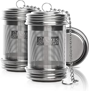 Tea Ball Infuser for Loose Tea 2 Pack Stainless Steel Filters Trainer with Double Screw Threaded Connection for Easy Cleaning Extra Fine Mesh Tea Ball Infuser Brew Tea, Spices & Seasonings