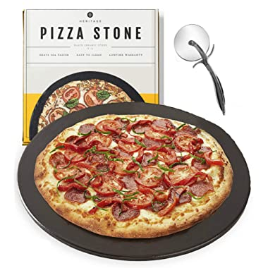 Heritage Black Ceramic Pizza Stone and Pizza Cutter Wheel - Baking Stones for Oven, Grill & BBQ - Non Stain