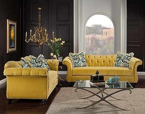 Amazon.com: Muebles de América 2 piezas ivorah Glamorous ...