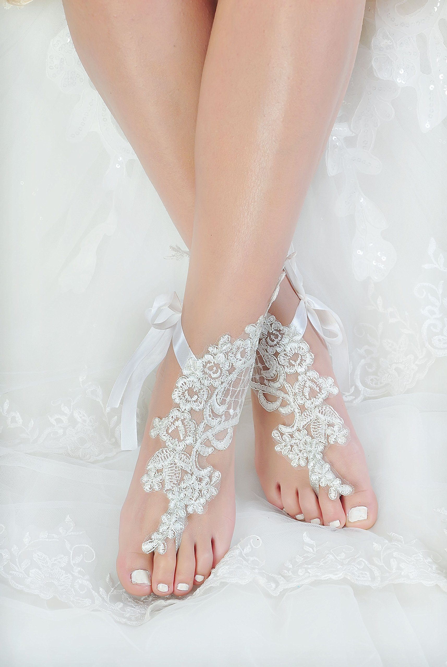 Handmade Lace Anklets,Destination Wedding Barefoot Sandals Prom Party Bangle,Bellydance Accessories-T1 by Fine Lady (Image #2)