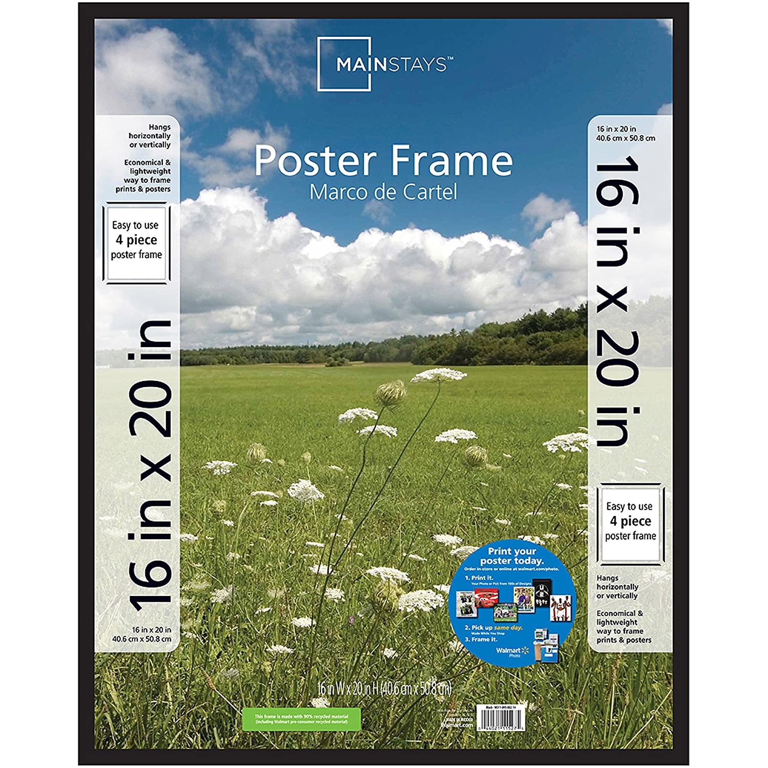 Amazon.com: Mainstays 16x20 Basic Black Poster Frame: Posters & Prints