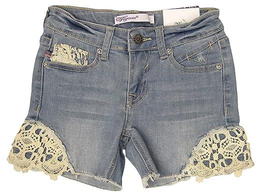 Amazon.com: vigoss Jeans Pantalones Cortos Niñas Con Encaje ...