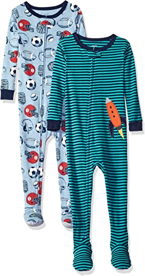 Carter/'s Fleece Footed Pajamas LOT OF 2 Dinosaur /& Rockets