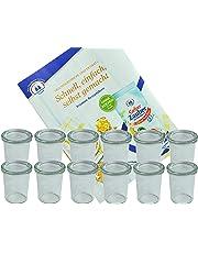 MamboCat 12er Set Weck-Gläser I ofenfeste 160 ml Einmachgläser I Dessertglas mit Deckel I Marmeladen Sturzglas I Einweckglässer Nachtisch I Einkochgläser mit Gratis Rezeptheft