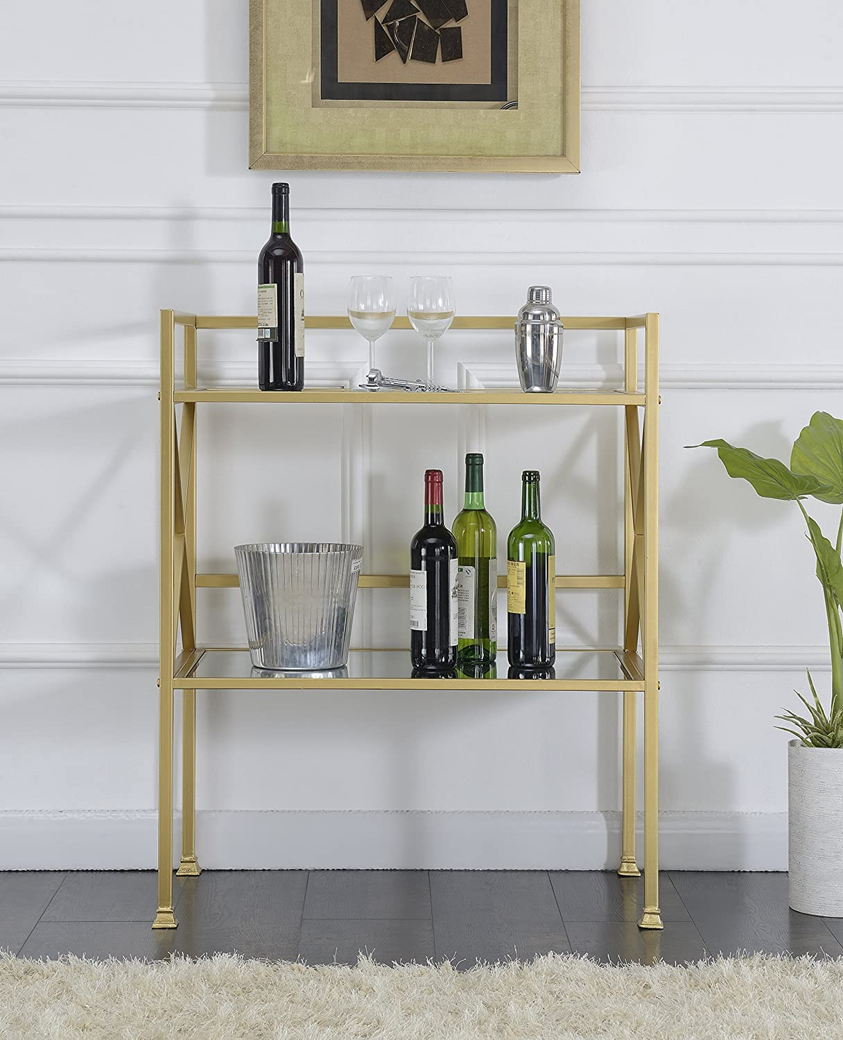 Convenience Concepts Gold Coast Bar Hall Table, Mirror / Gold Frame