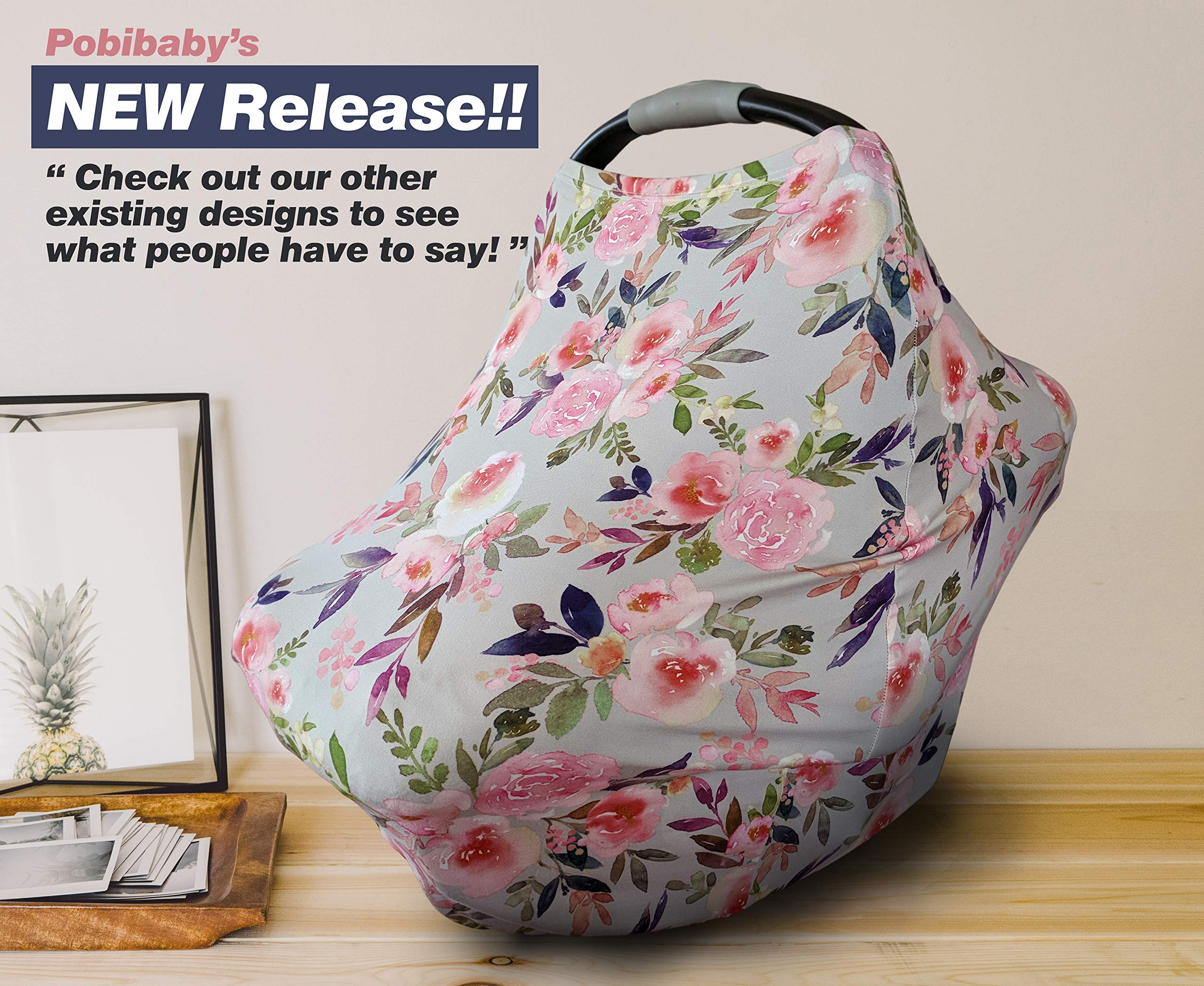 Premium Soft, Stretchy, and Spacious 4 in 1 Multi-Use Cover for Nursing, Baby Car Seat, Stroller, Scarf, and Shopping Cart - Best Gifts by Pobibaby (Grace) by Pobibaby (Image #2)
