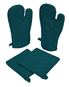Native Fab Farmhouse Oven Mitts and Pot Holders Set of 4, Heat Resistant Non-Slip Machine Washable, 100% Cotton Kitchen Pot Holders Oven Mitts Sets Teal Green